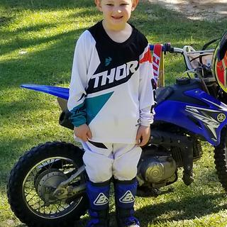 Our first dirt bike and gear.  Fit perfectly.   Thor sizing is exactly correct.   Very impressed