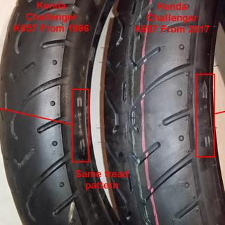 Comparison of front tires made 21 years apart.