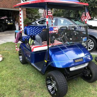 Ready for the neighborhood 4th of July Golf Cart Parade!
