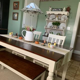Repurposed a cabinet/hutch to match table. Perfect❤️