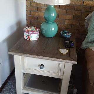 Plenty of room for your lamp and decor! NOTE - I added a new knob from Hobby Lobby for fun!