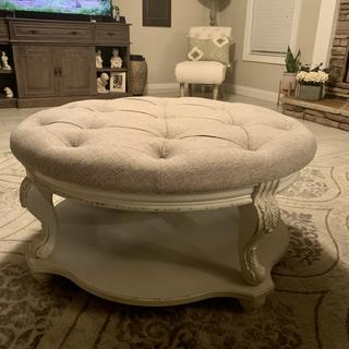 Beautiful ottoman. Sturdy and color is perfect!