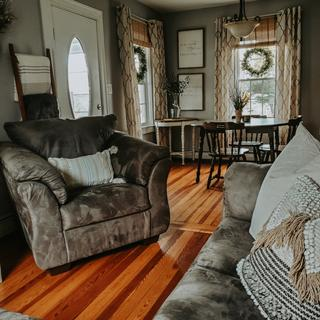 SUPER cozy, beautiful color, big chair. Worth every penny and we are so pleased with our order!