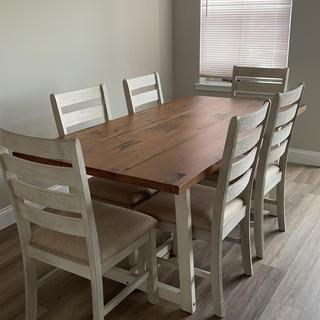 Paired the chairs with a dining table from overstock