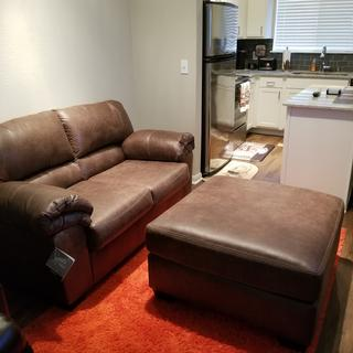 Bladen loveseat and ottoman set.