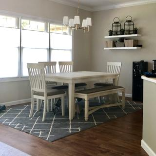Added bench from Bolanburg collection. The leaf is removed. Grey and white kitchen complete!