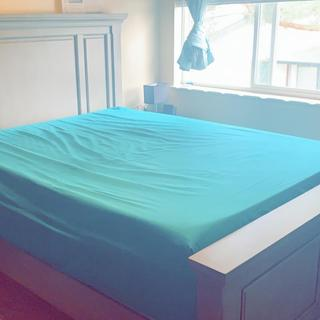 The height of the frame with a box spring is about 4 feet