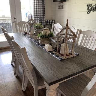 Loving our new table it is the look I was looking for!