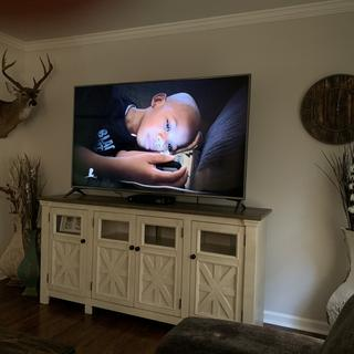 Love our new TV console!! Perfect for our space!!