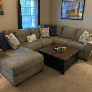 I love this coffee table with our new Ashley sectional!