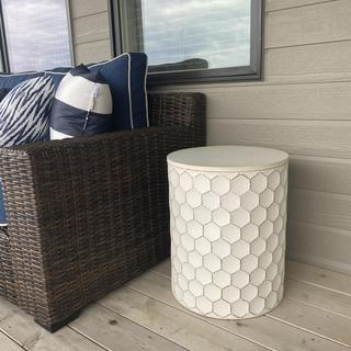 Love this stool!  Looks perfect with our patio furniture.