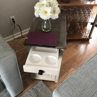Love this end table. Use the charger almost every day for my tablet so it is charged when I need it.
