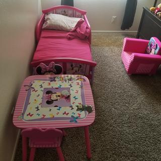 I purchased the bed, table w/2 chairs and an upholstered chair. My daughter loves it.