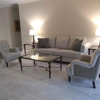 This sofa is so much more beautiful in person.  I used a different accent chair from Ashley.