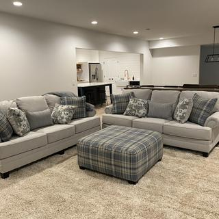 Couches and ottoman turned out beautifully. Colors are a nice neutral blue and lighten up the room