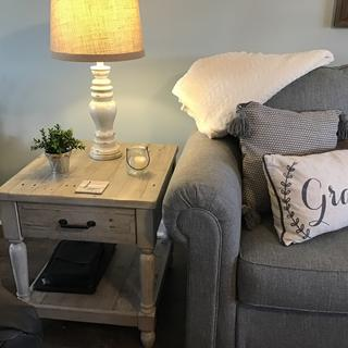 Definitely  more gray than white...which I love. Has a rustic look that can be coastal or farmhouse.