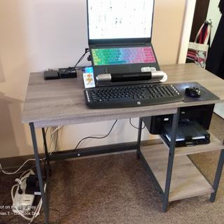 Finished desk with tech devices