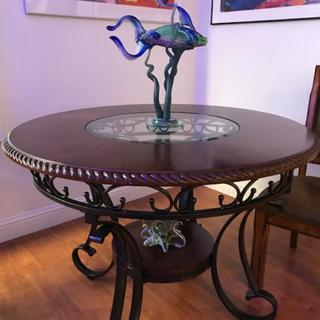 My Glambrey Dining room table sets off my glass sculptures perfectly!