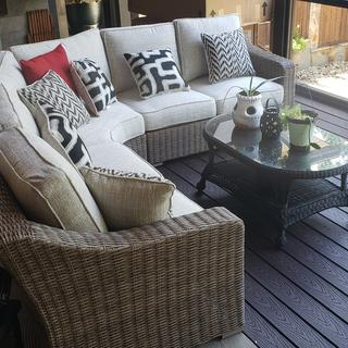 Love this outdoor sectional.  Very comfortable. Great choice