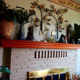 I love these two little palms on the mantle.  They are the perfect size!
