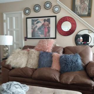 My comfy new couch is home for the holidays. Loveseat is here too. Now I'm waiting on recliner.