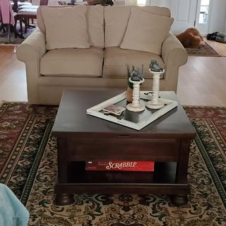 Love my lift top table. The overall size is perfect for my living room.