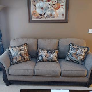 Love this sofa! Very comfortable and goes well with my other furniture.