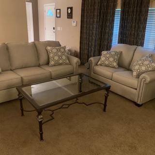 Beautiful sofa! Very comfy.