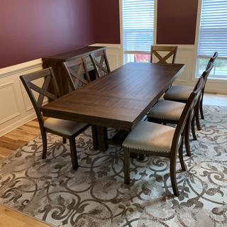 This dining set is perfect in our dining room! We did get an 8th chair, but it was off to the side.