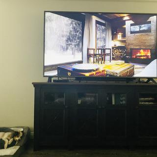 "Love this TV Stand! Slim look with storage underneath! Perfecta fit for our 75"" TV!"