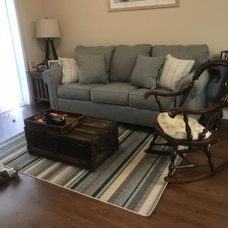 So glad I chose the Ashley rug to complement my new couch. It just looks perfect