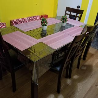 Very nice dining set, I love it. The chairs and bench are so comfortable and easy to clean.