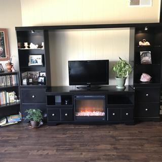 Shay entertainment center with fireplace insert