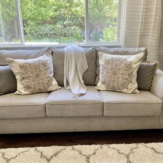 Great sofa for the price... Changed out pillows and it looks great!