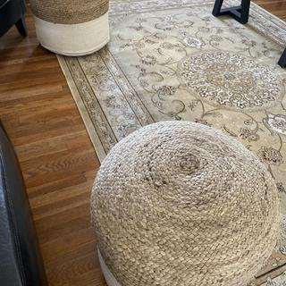 Cute natural and white pouf