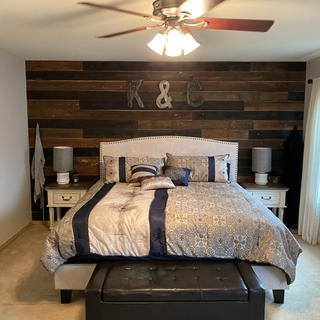 We got two nightstands to complete our rustic master bedroom.