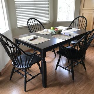Purchased table only, matches well with old chairs,