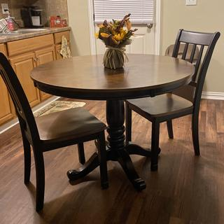 I love my table and chairs! They are perfect for my small kitchen area. And beautiful too!!