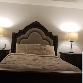 I love it! Caught these on sale, sturdy, solid wood, versatile color, fit for a queen!