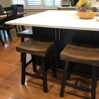 We love these bar stools. Got 6 of them to go around our kitchen island. Easy to assemble and comfy!