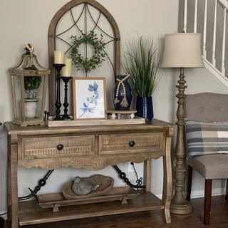 My farmhouse decor with a splash of blue