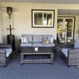 Cozy seating corner on our patio!
