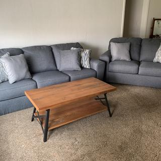 Love these sofas. Firm seat but softer backs. Very comfortable. denim/heather grey color in person