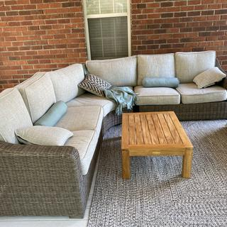 The sofa is perfect for my new screen porch, priced well, and comfy.