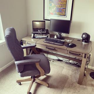 Great desk...very sturdy and loving the style! Color was just like the pictures.