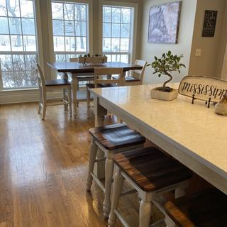 Marsilona Counter Height Dining Extension Table with Chairs and matching Bar Stools