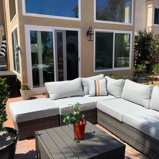 Love this couch.  It fits so good in our back patio area.  It is comfortable, well made and so cute.