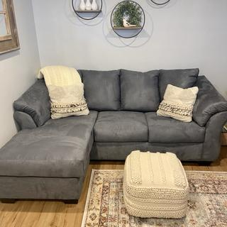 Firm but comfortable. Great for smaller spaces. Steel gray has slight bluish hue to it-very pretty.