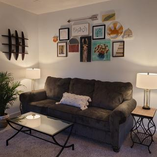 Love this beautiful and comfortable sofa! Black/brown/gray color coordinates with everything.