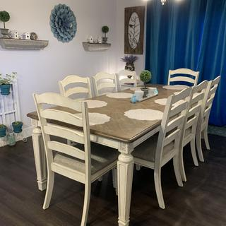 We love our new table from Ashley. It's a versatile style and comfortable seating.